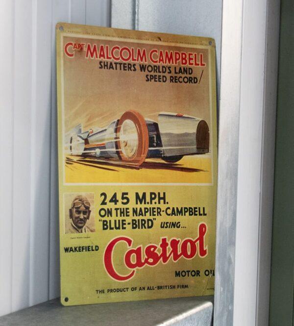 Castrol Heritage metal poster the bluebird