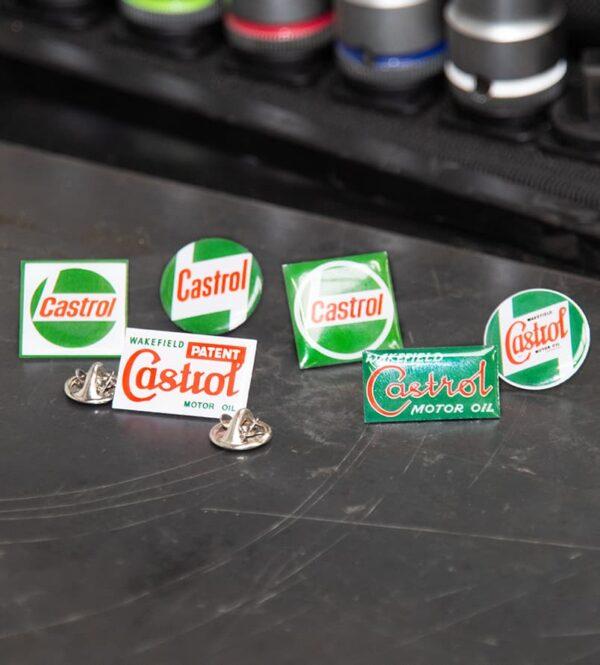 Castrol branded pin badges